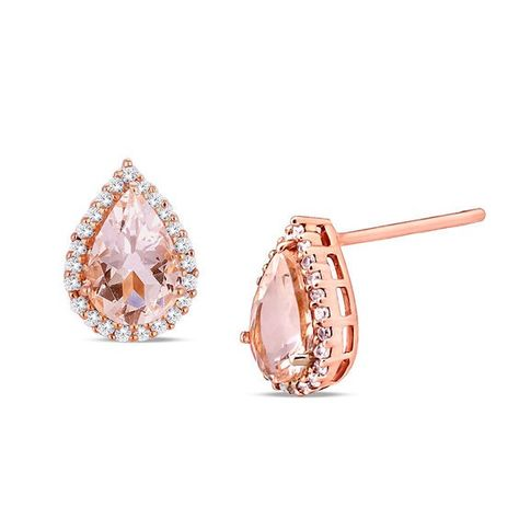 Pear Shaped Morganite And 1 6 Ct T W Diamond Frame Stud Earrings In 10k Rose Gold Stud Earrings Rose Gold Jewelry Fashion Earrings