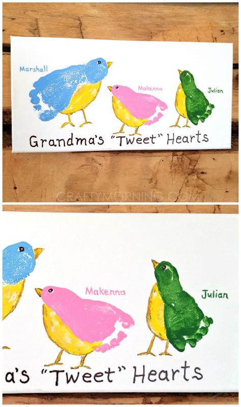 Grandma& & hearts footprint canvas - what a cute gift from the grandkids for Mother& day or grandparents day! Grandparents Day Crafts, Diy Mothers Day Gifts, Grandparent Gifts, Grandma Gifts, Mothers Day Crafts For Kids, Mothers Day Shirts, Happy Mothers, Mother Gifts, Baby Crafts
