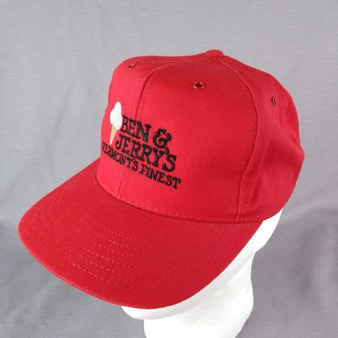 Ben   Jerry s Ice Cream Red Canvas Snap Back Embroider Trucker Hat Cap Made  USA  Unbranded  Cap  Everyday c1730fa117f6