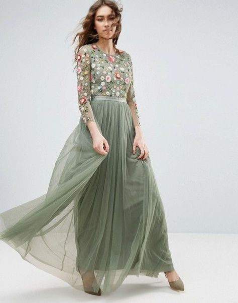 Round collar embroidery party dress,Long Sleeve Tulle A Line