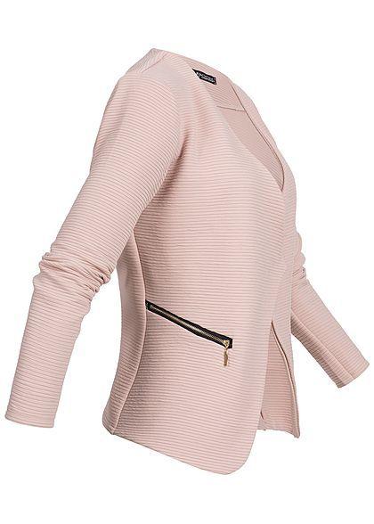 Styleboom Fashion Damen Ripped Blazer 2 Zip Pockets rosa in