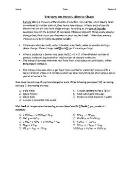 Entropy Explanation And Practice Problems Chemistry Worksheets