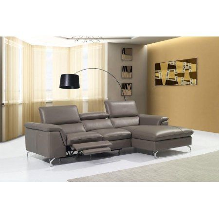 J Angela Modern Sectional Recliner Taupe Premium Leather Sofa Right Hand Chase Leathersectional Sectional Sofa Leather Sectional Contemporary Furniture Stores