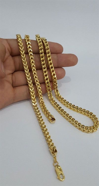 Gold Chain Men Yellow 10k Yellow Gold Franko Heavy Solid Chain Necklance Men Man 27 Inches 5mm 37 Gra Gold Chains For Men Gold Chain Design Gold Bangles Design