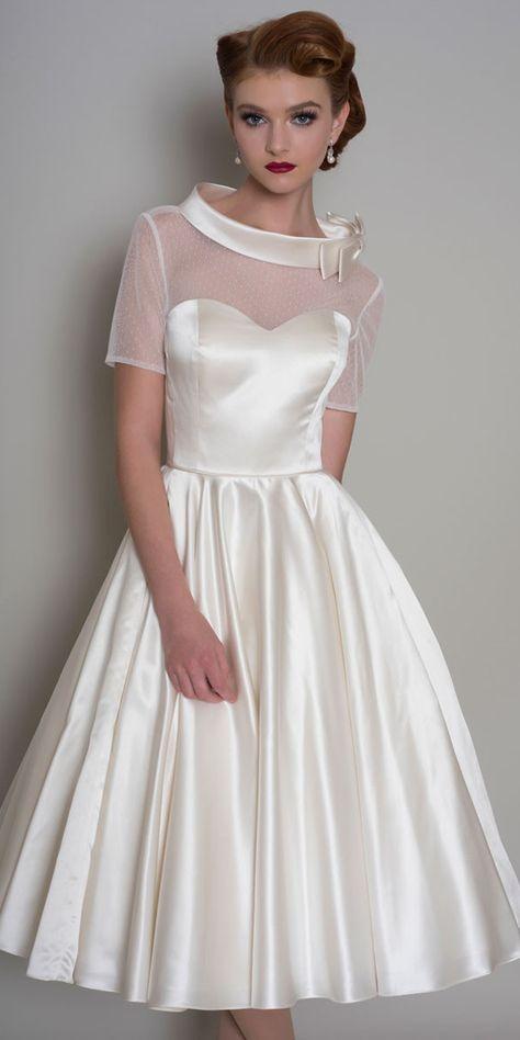 39 Vintage Inspired Wedding Dresses Wedding Forward In 2020 Modern Short Wedding Dress Tea Length Wedding Dress A Line Wedding Dress