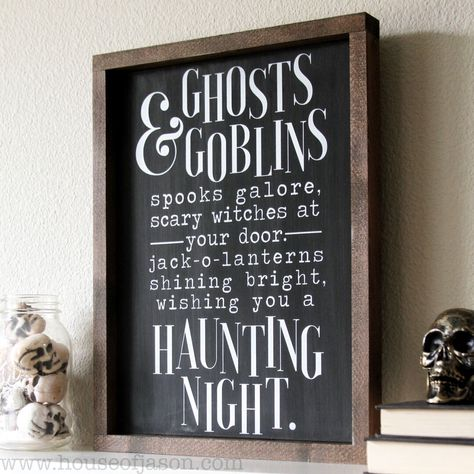 Halloween, Ghosts & Goblins, Hand Painted Wooden Sign   12 x 16
