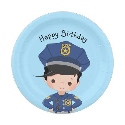 Boys Police Officer Happy Birthday Party Paper Plate Zazzle Com Birthday Party Paper Plates Happy Birthday Parties Police Birthday Party