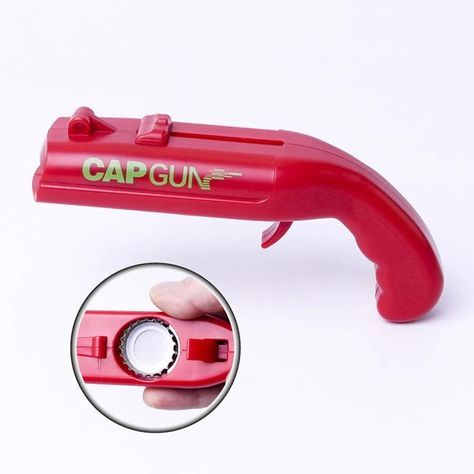 Adopts unique gun shape design.Creative cap flying design.You can cast it into garbage can by firing cap out.Shoots caps over 5 metres.Compact and lightweight, convenient to carry.
