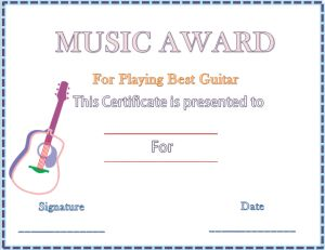 The guitar music award certificates are awarded by the music the guitar music award certificates are awarded by the music schools but the parents can also design it for their child taking training for the gu yelopaper Gallery