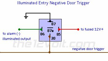 Wire diagram negative door trigger relay with fade negative wire diagram negative door trigger relay with fade negative door triggers the output is connected to a relay as shown wire diagrams pinterest publicscrutiny Gallery