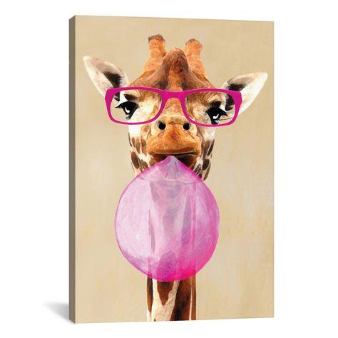 'Clever Giraffe With Bubblegum' by Coco de Paris Canvas Wall Art, Multi