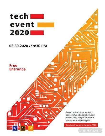 Free Tech Event Poster Template Psd Apple Mac Pages Illustrator Event Poster Template Event Poster Design Event Poster