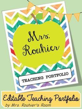 Editable Teaching Portfolio Template Colorful Chevron Teaching Portfolio Teacher Portfolio Teaching