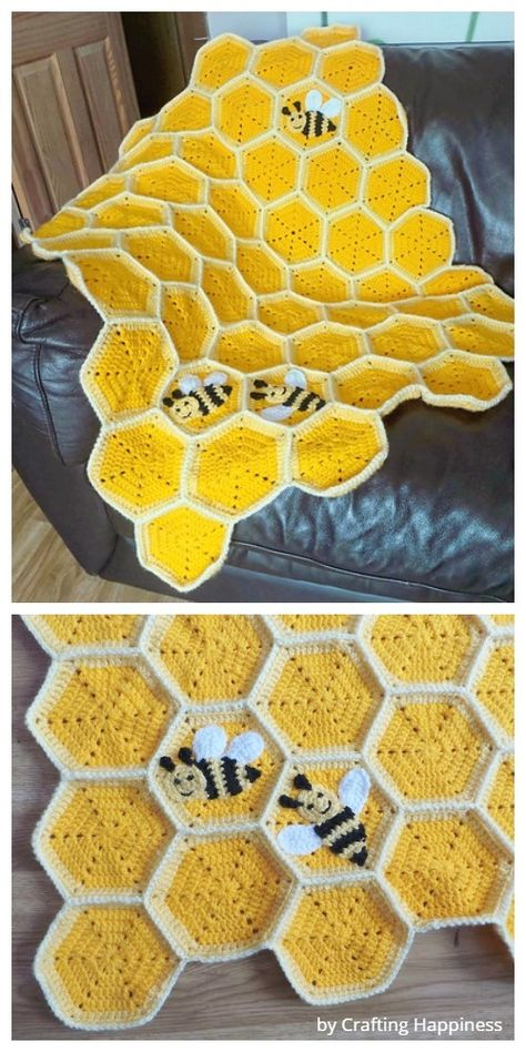 Crochet Honeycomb Baby Blanket Free Crochet Pattern Best Picture For crochet blanket patterns For Your Taste You are looking for something, and it is going. Crochet Mignon, Crochet Bee, Cute Crochet, Crochet Crafts, Yarn Crafts, Sewing Crafts, Kids Crochet, Crotchet, Crochet Quilt