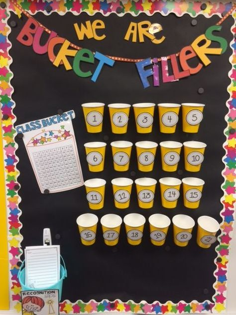 I LOVE BUCKET FILLERS! I think the book is fabulous and I want to have a classroom culture of positivity and building one another up. Students can write compliments/affirmations to one another and drop it in the bucket. Classroom Tools, 3rd Grade Classroom, Classroom Behavior, Classroom Setting, Classroom Environment, Classroom Setup, Classroom Displays, School Classroom, Classroom Birthday Board