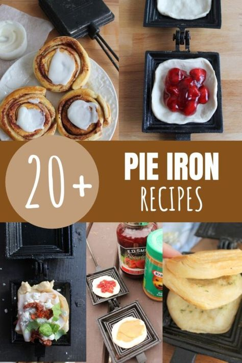 These yummy pie iron recipes are perfect for camping! Simply layer all of the ingredients in a pie iron and cook over the fire. Pie Iron Cooking, Dutch Oven Cooking, Backpacking Food, Camping Meals, Camping Cooking, Ultralight Backpacking, Kayak Camping, Camping Hacks, Camping Hammock