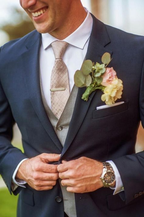 Groom in navy grey and champagne suit and tie champagneweddingdress groom suit vintage rustic chic wedding day on a budget of tuxedo men suit formal suits Groom And Groomsmen Attire, Groom Outfit, Navy Suits Groomsmen, Groom Attire Rustic, Best Groom Suits, Wedding Attire, Chic Wedding, Wedding Rustic, Navy Tux Wedding