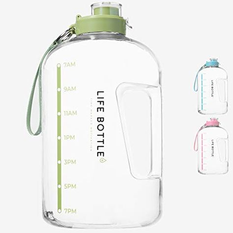 Life Bottle Time Marked Water Bottle 1 Gallon Water Bottle With Time Marker Extra Large Water Bottle Water Jug Helps You Drink More Water Bpa Free Water B Large Water