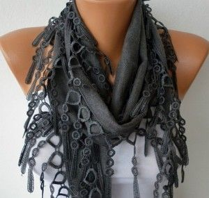 Gray Scarf Pashmina Scarf Headband Necklace Cowl by fatwoman from fatwoman on Etsy. Saved to Scarf.