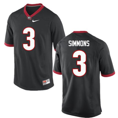 Men Georgia Bulldogs  3 Tyler Simmons College Football Jerseys-Black ... 3e57368f8