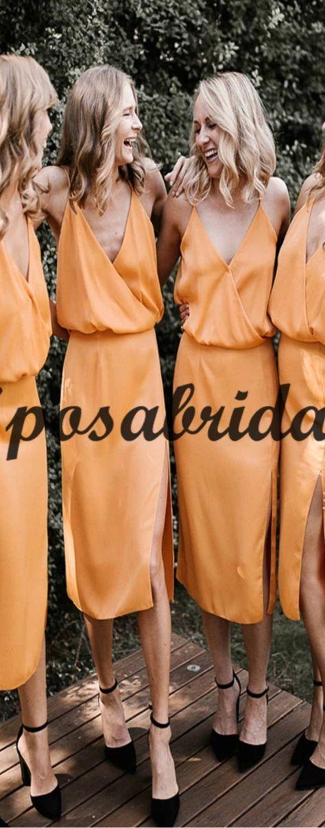 Spaghetti Straps Yellow Chiffon Simple Cheap Short Bridesmaid Dresses WG732 #Long #mismatched #blush #summer #bridesmaiddress #fall #bridesmaiddresses #bridesmaids #weddingguest #wedding #Modestbridesmaiddress #cheapdress #discount