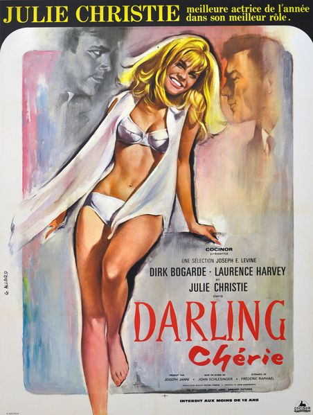 """MP848. """"Darling"""" French Movie Poster by Georges Allard (John Schlesinger 1965) / #Movieposter"""