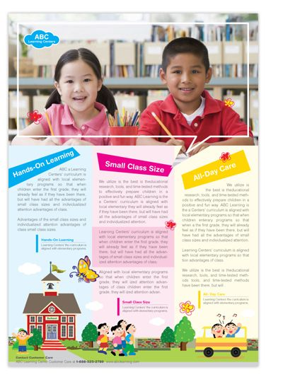 Learning Center  Elementary School Brochure Design  Design