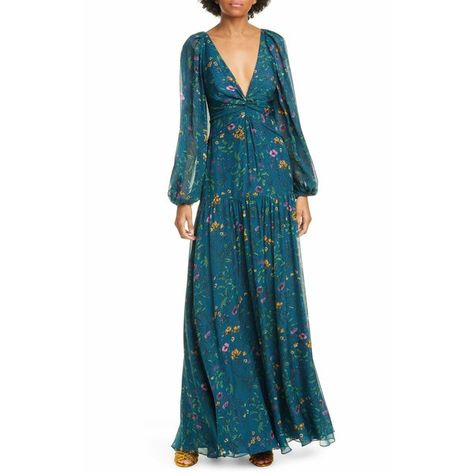 Long sheer sleeve silk maxi dress in timeless teal floral print. features plunging neckline with a front twist tucked waistline elastic cuffs and open back secured with a ribbon tie closure.    material: 100% silk