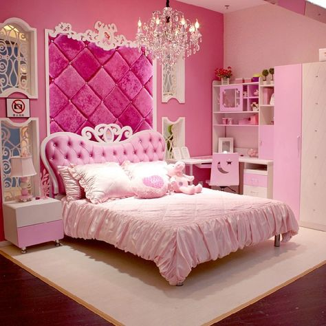 European Style MDF Pink Princess Girl 4pcs Bedroom Furniture ...