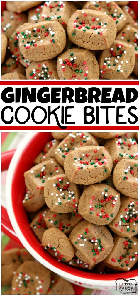 The simplest gingerbread cookie recipe ever! Chewy, bite-sized gingerbread cookies that take a fraction of the time to make! They're perfect for holiday parties and get-togethers! from BUTTER WITH A SIDE OF BREAD # holiday Baking Christmas Snacks, Christmas Cooking, Holiday Treats, Holiday Recipes, Holiday Parties, Easy Christmas Baking Recipes, Christmas Cupcakes, Christmas Bread, Simple Christmas Cookie Recipe