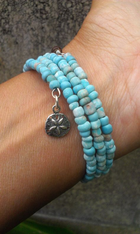 Beachy Powder Blue Stone Beaded Bracelet with by WittnWhimsy1, $22.00