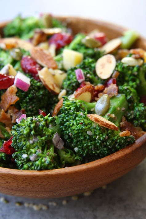 Super Healthy Broccoli Salad recipe is a twist on a classic with extra nutrition packed in. Crunch, sweet and savory, the ultimate crowd pleaser. http://www.thefedupfoodie.com