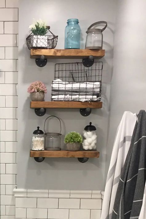 Industrial farmhouse floating shelf adds rustic warmth and style to any wall plus useful storage space without taking up floor space. The narrow design makes them perfect for a bathroom to hold extra towels and decor.