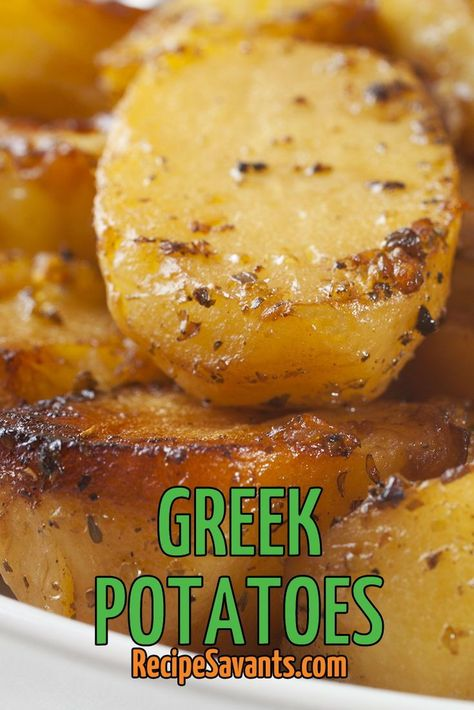 These Greek oven-roasted potatoes are coated in a savory Greek blend of olive oi. - These Greek oven-roasted potatoes are coated in a savory Greek blend of olive oil, lemon juice, chi - Greek Roasted Potatoes, Greek Lemon Potatoes, Roasted Potato Recipes, Greek Chicken And Potatoes, Recipes With Chicken Broth, Oven Potato Recipes, Greek Roasted Chicken, Greek Style Potatoes, Russet Potato Recipes
