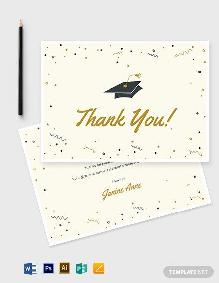 Graduation Thank You Card Template Word Doc Psd Apple Mac Pages Illustrator Publisher Graduation Thank You Cards Thank You Card Template Card Template