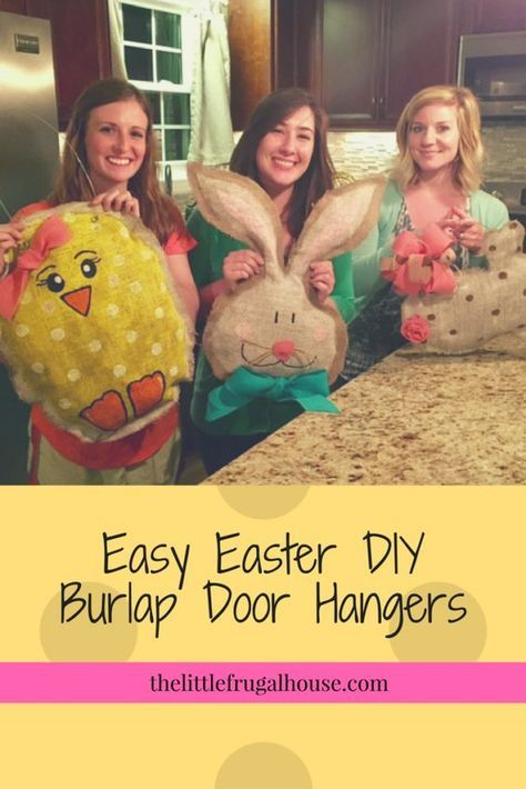 Super cute and easy DIY Tutorial to make Easter Burlap Door Hangers with step by step instructions, materials list, and lots of pictures! These are a great alternative to an Easter wreath! So fun to make and perfect for a girls craft night! Easy Diy Crafts, Crafts To Do, Easy Easter Crafts, Girls Night Crafts, Craft Night, Painting Burlap, Burlap Door Hangers, Burlap Door Decorations, Diy Ostern