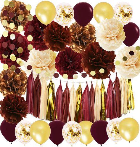 Wine Burgundy Champagne Gold Bridal Shower Decorations/Fall Wedding  Decorations Big