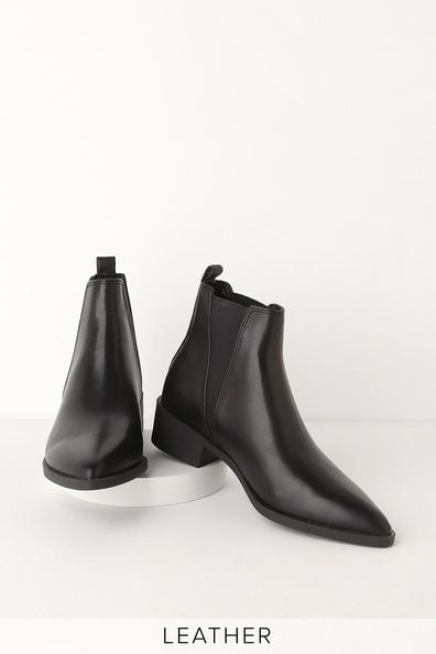da7432fab95 Steve Madden JERRY BLACK LEATHER POINTED TOE ANKLE BOOTIES | Shoes ...