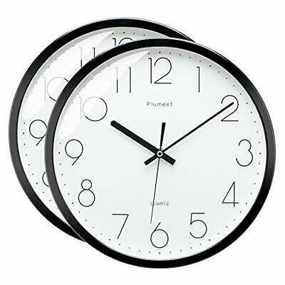Plumeet 12 Inches Modern Quartz Wall Clock Silent Non Ticking Black 2 Pack Fashion Home Garden Homedcor Clocks Ebay Li Wall Clock Wall Clock Simple Clock