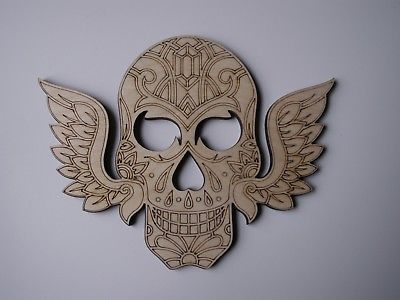 Day of the Dead Skull Laser Cut Wood Shape SKL11