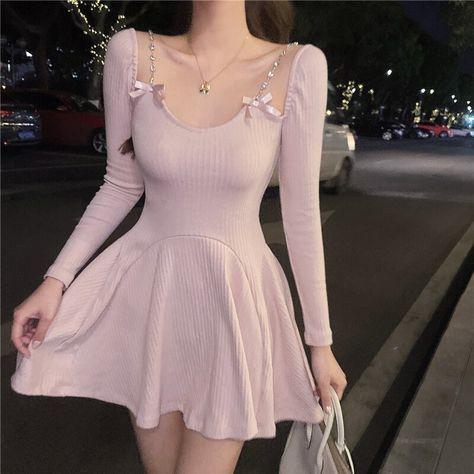 16.11US $ 50% OFF|Korean Summer Women'S Dress Casual Long Sleeved Sexy Mini Dress Club Party Dress Cute Bow Elegant Pink Dress 2021 New|Dresses|   - AliExpress