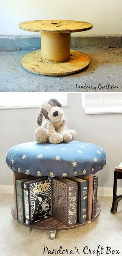 Marvelous Diy Recycled Wooden Spool Furniture Ideas For Your Home No 82 (Marvelous Diy Recycled Wooden Spool Furniture Ideas For Your Home No design ideas and photos Cable Spool Tables, Wooden Cable Spools, Wood Spool, Cable Spool Ideas, Wire Spool Tables, Wire Table, Recycler Diy, Kid Toy Storage, Storage Ideas