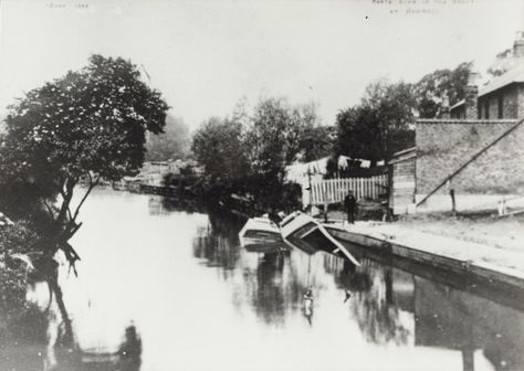 """Caption: """"Boats sunk in the River Brent at Hanwell"""""""