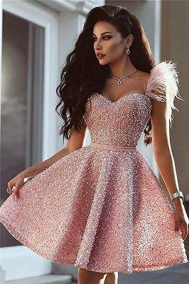 Full Beads Pink Short Evening Dress Sleeveless Luxury Cute Fur Homecoming Dress Pink Party Dresses Evening Dresses Short Evening Dress Sleeveless