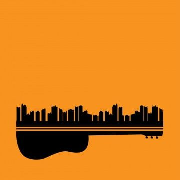 Vector Illustration Of Live Music In City With A Guitar Concept On Orange Background City Clipart Landscape Acoustic Png And Vector With Transparent Backgrou Retro Vector Silhouette Art Vector Illustration
