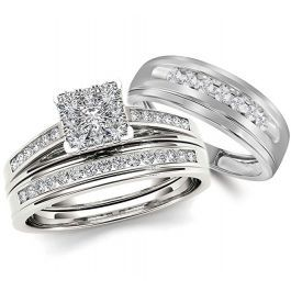 10k White Gold Wedding Ring Set His And Hers 3pc Trio 3 4ctw Classic Cathedral Style With Images White Gold Wedding Ring Set Buy Wedding Rings White Gold Wedding Rings