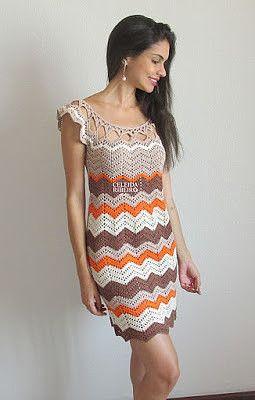a50a05e7eb79 ❤ ✿ Mi Rincón del Tejido ✿ ❤: Vestido mujer en zig-zag a crochet ...