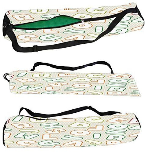 e62adda22b8e Snoogg White Alphabets Canvas Yoga Bag Peace Beautifully Crafted for Extra  Wide Yoga Mat and Gym Mat up to a height of 186 x 63 x 0.6 cm 7000 Various  ...