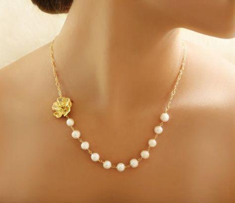 De Dama de honor regalo delicado oro o plata collar de flores
