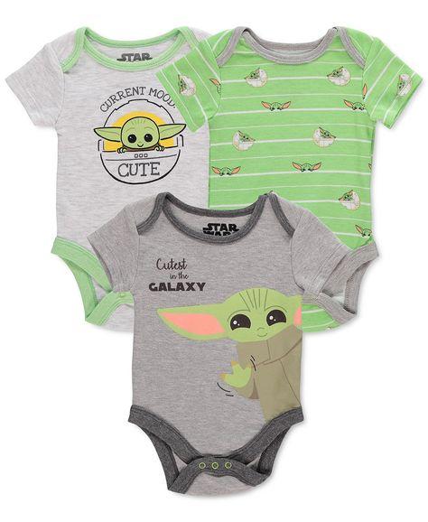 Star Wars The Mandalorian Baby Boys' Baby Yoda 3-Pack Bodysuit Set - 3-6 Months